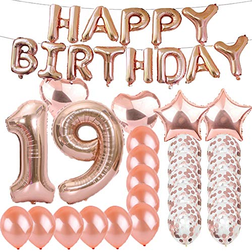 Sweet 19th Birthday Decorations Party Supplies,Rose Gold Number 19 Balloons,19th Foil Mylar Balloons Latex Balloon Decoration,Great 19th Birthday Gifts for Girls,Women,Men,Photo Props