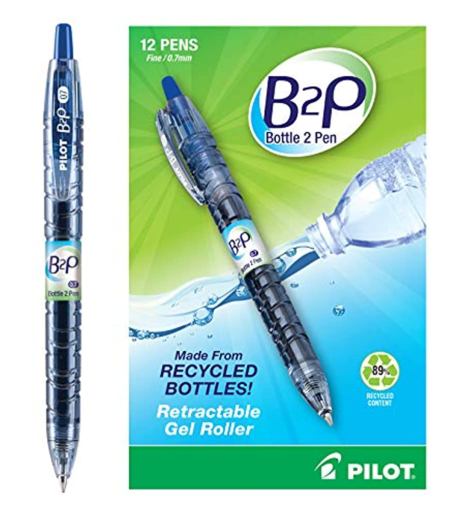 Pilot Bottle 2 Pen (B2P) - Retractable Premium Gel Roller Pens Made from Recycled Bottles; Dozen Box, Fine Point, Blue G2 Gel Ink, Refillable,  Comfortable Grip (31601).