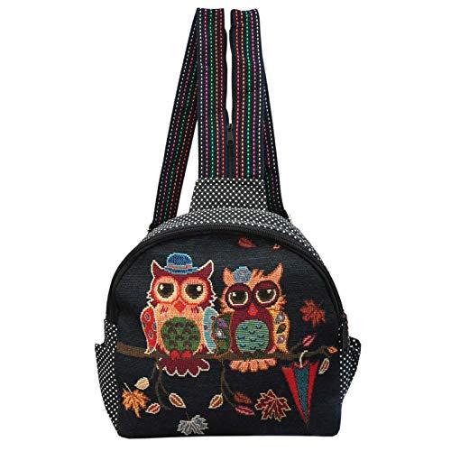 Kompakter Rucksack mit Eulenmotiv Kinder Rucksack Kindergarten Eulen Schwarz gepunktet