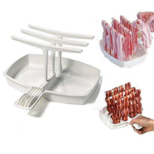 YEARGER Desmontable Bacon Tray Rack Microondas Bacon Cooker Estantería Rack menos de grasa Cocina Sana Herramientas Barbacoa Desayuno comida Gadgets