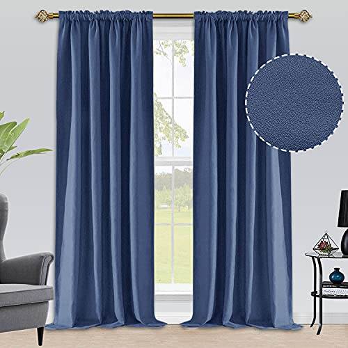 ALLJOY Navy Blue Blackout Curtains 96 Inches Length for Living Room, 2 Panels Thermal Insulated Drapes for Bedroom Windows, Solid Linen Rod Pocket Window Curtain for Room Darkening Noise Reducing, W52