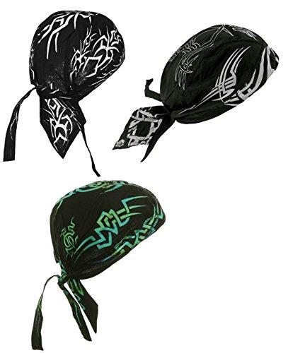 Doo Rag Pack of Motorcycle Biker Caps 3 Set Cotton Durags Bandana Head Wraps Skull Caps
