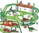 bangder Dinosaur Toys- Dinosaur Train Set Double-Decker Track Playset, Create A Dinosaur World Road Race, Funny & Unique Birthday Gift Idea for Boys, Girls and Kids Ages 3, 4, 5, 6, 7, 8, 9+