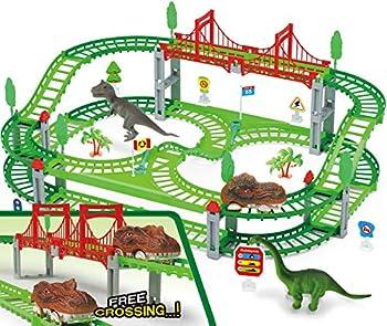 bangder Dinosaur Toys- Dinosaur Train Set Double-Decker Track Playset Create A Dinosaur World Road Race Funny & Unique Birthday Gift Idea for Boys Girls and Kids Ages 3 4 5 6 7 8 9+