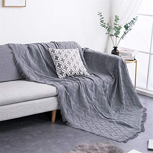 DFLYHLH Sofá Toalla Manta de Tiro de Color sólido Tejido de sofá Fundas Manta Toalla a Cuadros Fundas Decoración del hogar Gray 03 180x230cm