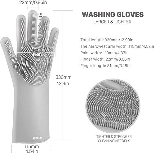 Product Image 6: anzoee Reusable Silicone Dishwashing Gloves, Pair of Rubber Scrubbing Gloves for Dishes, Wash Cleaning Gloves with Sponge Scrubbers for Washing Kitchen, Bathroom, Car & More (Gray) …