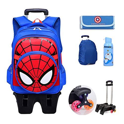 MODRYER per Bambini Zaino Spiderman Scuola elementare Impermeabile Zaino Trolley Studenti Piede Alto 6 Ruote Daypack Mud Proof,Blue-43 * 30 * 18cm