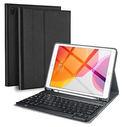 Olycism Funda con Teclado para iPad de 10.2 8ª/7ª Generación para iPad 2020 y 2019, Teclado Bluetooth Inalámbrico Desmontable con Portalápices Compatible con iPad Air 3 10.5 2019/iPad Pro 10.5