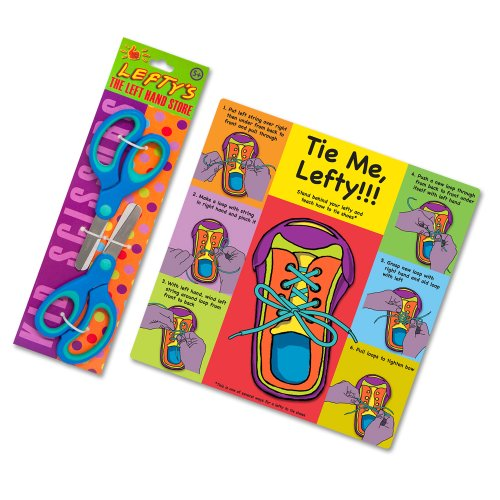 Teach a Child How to Tie Shoes Using Their Left Hand Instruction Card Plus Two Blue Left-Handed Scissors for Kids - Blue