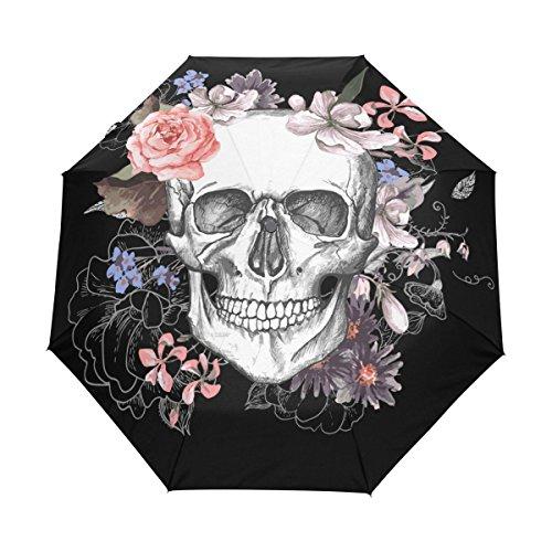 MyDaily Regenschirm mit Totenkopf und Blumenmuster, automatischer Öffnung/Schließung, UV-Schutz, winddicht, leicht