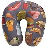 Forma De U Almohada,Burger Taco Pizza Funda Lavable para El Cuello,Almohada para La Cabeza del Cuello para Cama,Automóvil,Tren,Autobús,Avión,Oficina