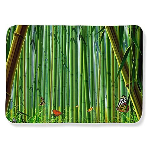 Alfombres Mariposa del Bosque de bambú Verde Amarillo Alfombra Antideslizante Suave Lana...