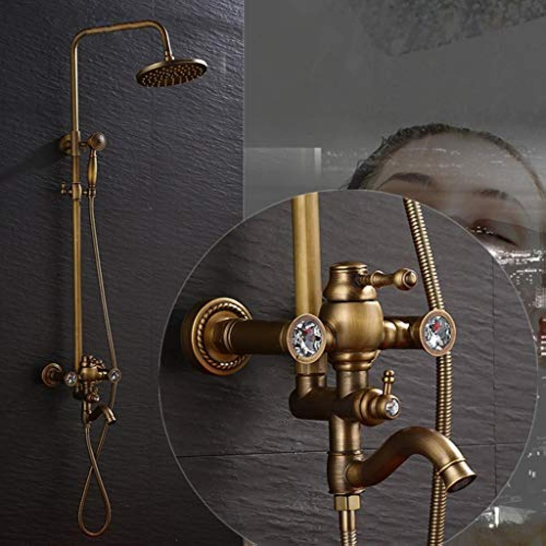 Whgz Die Erntezeit-Full European Continental Retro Badezimmer Dusche Wasserhahn Duschset Wandbrause Set, kann Heben und senken (Farbe   a)