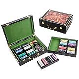 LANGWEI Set di Fiches da Poker in Ceramica, Set Completo di Fiches da Poker da 500 Pezzi con Denominazioni, Presenta Una Custodia per Il Trasporto in Legno di Fascia Alta