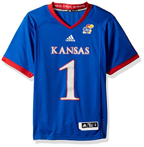 adidas Adult Men NCAA Premier Football Jersey, X-Large, Collegiate Royal, Kansas Jayhawks
