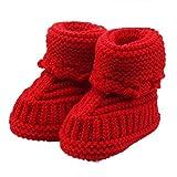 Bebé ReciéN Nacido Chico Chica Zapatos de Ganchillo,logobeing Tejido de Punto Encaje Profesional Artesanal (Rojo)