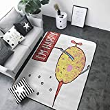 Anti-Fatigue Comfort Mat Cartoon Decor,Kids Fat Little Chubby Fish Character Holds Happy Phrase Flag Humor Animal Decor,Multi 84 x 60 in Area Rugs