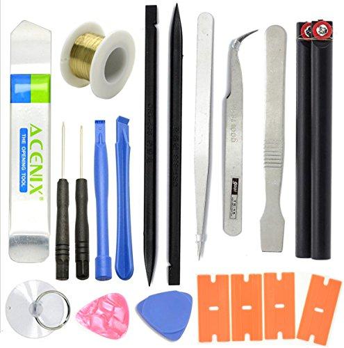 ACENIX® universele reparatieset voor smartphones, 19-delig, voor het openen en repareren, inclusief schroevendraaier en pincet en andere gereedschappen, in kunststof tas