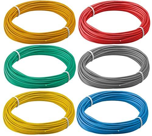 Modellbahn Litze Kabel Basteln 6er Set bunt je 10m 0,14qmm PVC isoliert