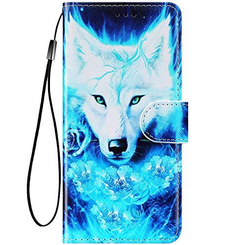 Felfy Kompatibel mit Huawei Honor 9 Lite Hülle Bunte Painted Muster Schutzhülle,Handyhülle für Huawei Honor 9 Lite PU Lederhülle Magnet Klapphülle Tasche mit Kartenfach/Standfunktion - Wolf