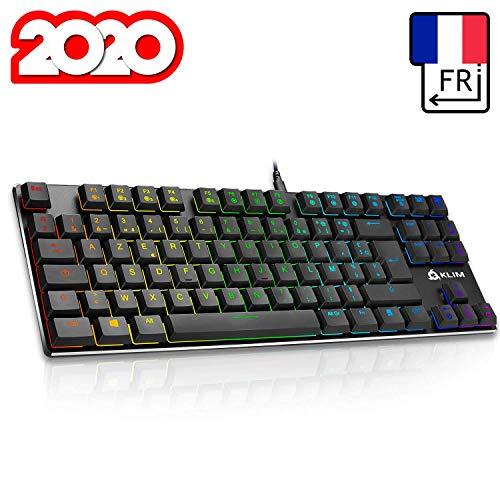KLIM Dash TKL – Mechanische Tastatur mit roten Schaltern für Professionelle Anwender und Gamer - AZERTY - Kompakt TKL Tastatur ohne nummernblock + RGB Farben und Beständiger Metallrahmen