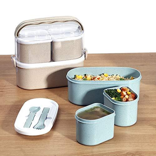 PPuujia Caja de comida de 1450 ml, contenedor de alta comida ecológica, bento box almuerzo japonés, lonchera, preparación de comida y paja de trigo (color: doble asa beige)