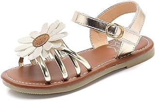 shevalues Girl's Flower Flat Sandals Cute Summer Shoes Open Toe Ankle Strap Sunflower Dress Sandals for Kids (Little Kid/Big Kid)
