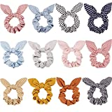 12 Pieces Hair Scrunchies Rabbit Bunny Ear Bow Bowknot Scrunchies Bobbles Elastic Hair Ties Ropes Ponytail Holder Accessories for Women Girls (Wave Point)