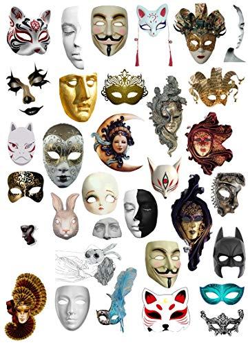 BLOUR 33 Uds Mini Pegatinas de máscara de Fiesta de Halloween Manualidades y Pegatinas de álbum de Recortes Libro Etiqueta de Estudiante Pegatina Decorativa Juguetes para niños
