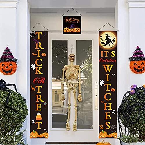 Banner de Decoración de Puerta de Halloween,Decoración de Halloween Banner,Decoración de Fiesta de Halloween para el Hogar Interior/Exterior