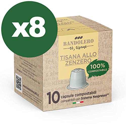 BANDOLERO 100% Compostable Made in Italy, 80 Cápsulas Compatibles con Nespresso, Té de Jengibre del Cultivo Ecosostenible, Aroma Inconfundible para Cafetera Nespresso