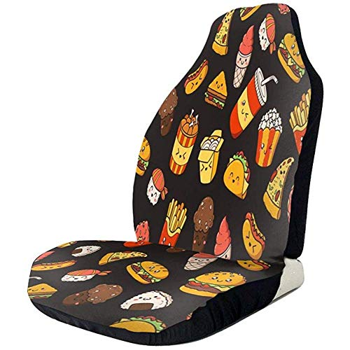 Fall Ing Cubierta de asientos de coche Cute Hotdog Mochilas Pizza Taco Cubierta de asientos delanteros Protector de asiento automotriz