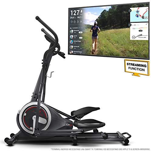 Sportstech Cyclette ellittica CX640 Compatibile con l'app Kinomap, Massa del volano 24 kg + Street View + 26 programmi di Allenamento Inclusa la Funzione HRC. Macchinario per Allenarsi a casa