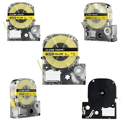 Replace Label Tape for Epson LK3WBN LC3WBN9, Label Tape Cartridge Compatible for Epson LabelWorks LW300 LW400 LW500 LW600P LW700,3/8 Inch X 26.2 Feet(9mm x 8M) (12mm Black on Yellow, 5 Pack) Photo #7