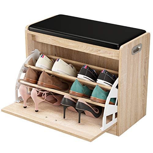 Homfa Zapatero con Asiento Banco Zapatero Roble Organizador para Zapatos con 3 estantes