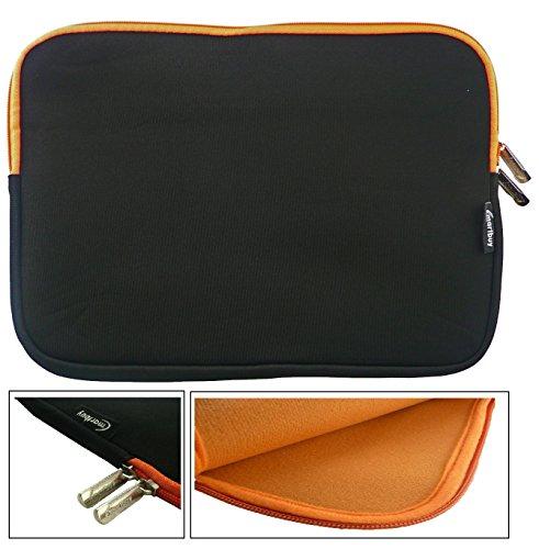 Emartbuy® Schwarz/Orange Wasserdicht Neopren weicher Reißverschluss Kasten Sleeve Mit Orange Interieur&Zip geeignet für Acer Aspire One AO1-131 Cloudbook 11.6 Zoll (11.6-12.5 Zoll Tablet)