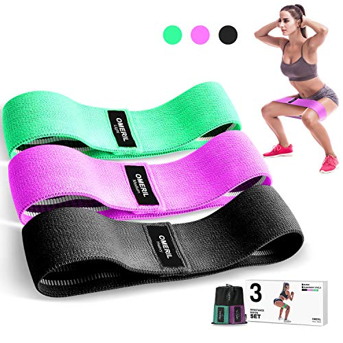 Price comparison product image OMERIL Resistance Bands Set,  3 Packs Fabric Workout Bands with 3 Resistance Levels,  Non-Slip Exercise Bands Elastic Resistance Loops Bands with Carrying Bag for Legs,  Butt,  Hips and Glutes
