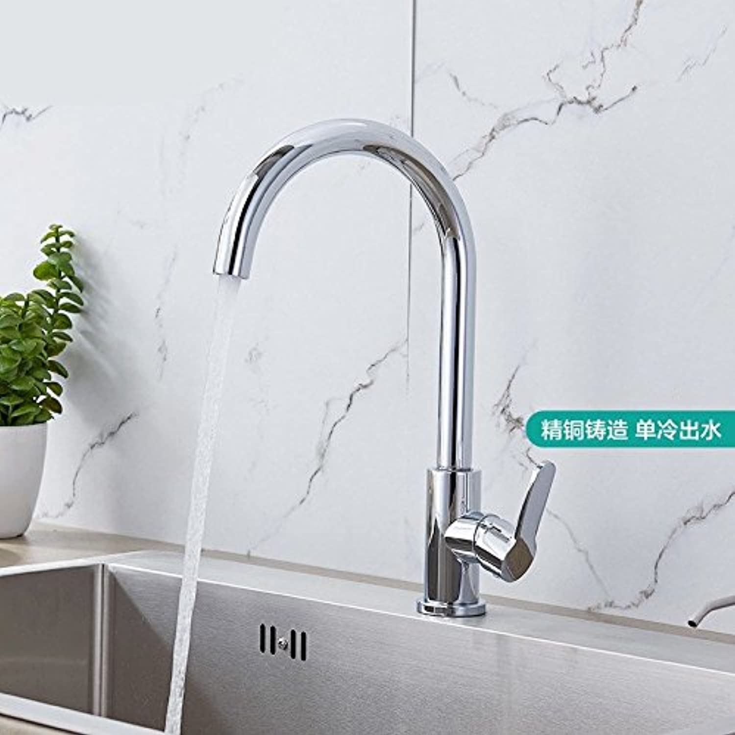 Commercial Single Lever Pull Down Kitchen Sink Faucet Brass Constructed Polished Stainless Steel Kitchen Faucet, Single Cold Sink Sink Faucet