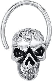 16G Stainless Steel Clip On Septum Jewelry Skull CZ Septum Ring Rose Gold Septum Clicker Nose Ring