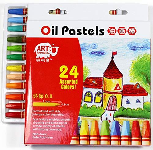 Art Rangers Ölpastellkreide, Set mit 24 Farben, für KiGa und Schule, Wachsmalstifte (24er Farbset)