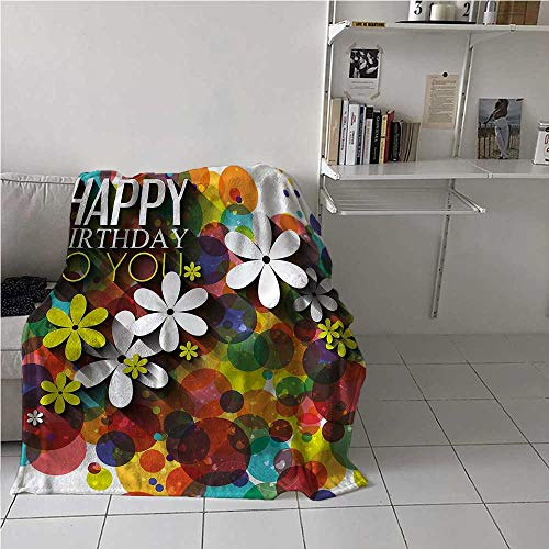 Throw Blanket Birthday Air Conditioner Blanket Daisies Dots Best Wish for Bed/Couch/Sofa/Office/Camping 54x72 Inch