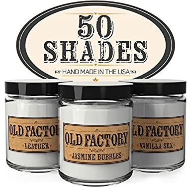 Scented Candles - 50 Shades - Set of 3: Leather, Jasmine Bubbles, and Vanilla Sex - 3 x 4-Ounce Soy Candles - Perfect Valentines Day Gift for Her