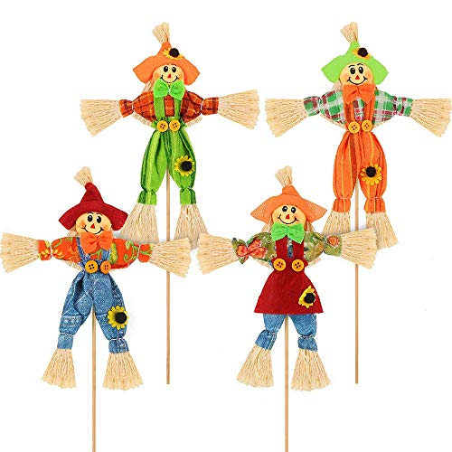 4 Piezas Cosecha de Halloween Espantapájaros Decoración, Pequeñas Decoraciones de Espantapájaros, Decoración con Palo De Bambú, para Otoño, Jardín, Fiesta de Acción de Gracias