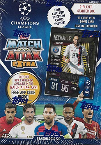 Topps UEFA Champions League Match Attax EXTRA Edition 2019 2020 Soccer Trading Card Game Sealed Two Player Starter Box with 38 Cards and Game Mat Plus a Bonus Neymar Limited Edition GOLD Card #LE1G