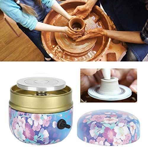 Mini máquina de rueda de cerámica, acero inoxidable + aluminio, máquina de rueda de cerámica plana, enseñanza escolar para trabajar arcilla, hecha en casa para manualidades(Transl)
