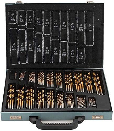170pcs 1-10mm HSS Metric Drill Bits Set Spiral Point Tap Straight Shank Titanium Drill Bit Tool Set with a Storage Case For Drilling