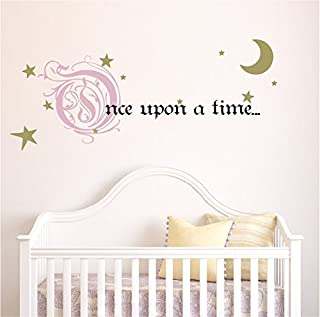 Once Upon a Time Story Book Quote Vinyl Wall Decal Removeable Baby Girl Nursery Fairy Tale Design Sticker (Pink, Gold, Black, 9x22 inches)