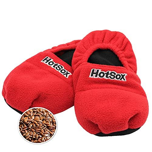 Zapatillas térmicas Hot Sox de semillas de lino para calentar en microondas, rojas, talle 36/40