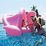 YEARGER Flamingo Baby Schwimmring,Rosa Schwimmhilfe Baby Pool Schwimmring mit Sonnenschutz Aufblasbarer Schwimmreifen für Kinder ab 6 Monaten bis 48 Monaten(PVC)