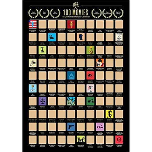 ZARQ 100 Movies Scratch Off Bucket List Poster, Top 100 Peliculas Movie Bucket List Scratch Off Poster Lista de Deseos de Películas Poster Peliculas para los Amantes del Cine